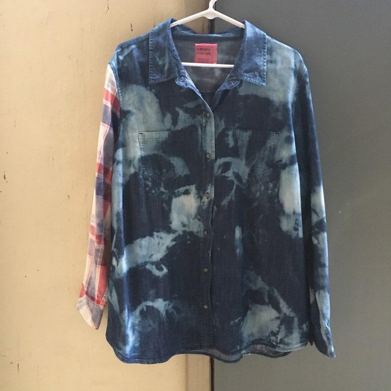 Plus Size Tunic Bleached Denim Shirt with Plaid Sleeve Sustainable Fashion Denim Blouse Upcycled Clothing for Women Grunge Shirts