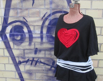 Imperfect Red Heart Applique Shirt - made from previously loved tshirts - Womens Upcycled Shirt
