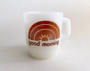 Vintage Burger Queen Good Morning white Fire King Milk Glass Coffee Cup / Mug