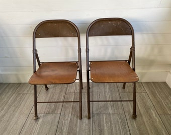 Set of TWO Vintage Metal and Wood Folding Chairs