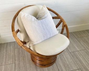 Vintage Retro Rattan Swivel Mamasan Bucket Chair - Medium Golden Brown Cane