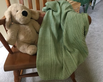 All cotton handwoven baby blanket in greens and soft yellow