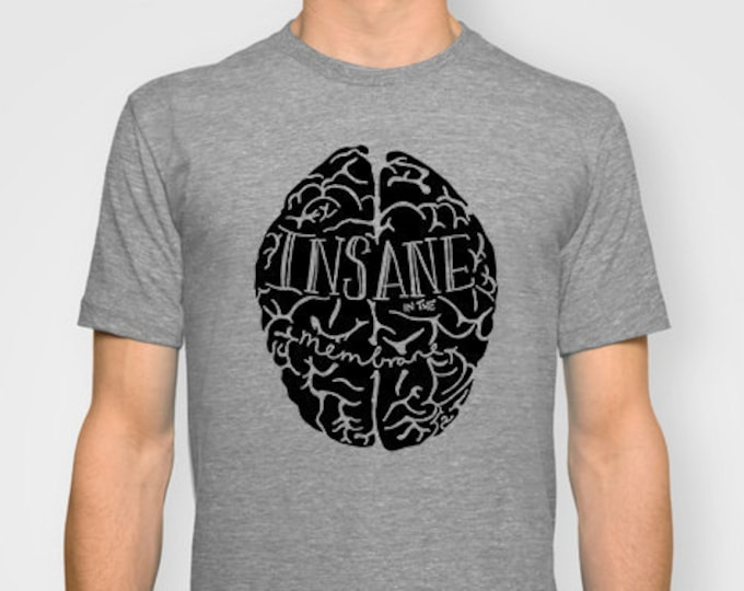 Featured listing image: Insane in the Membrane UNISEX T-shirt hand printed by Emilythepemily.