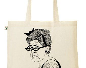 Illustrated Tattoo Lady Tote Bag printed by Emilythepemily.