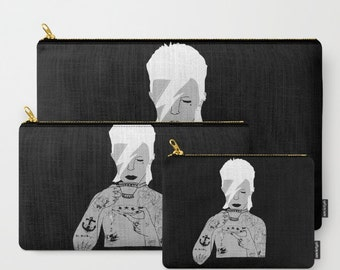 David Bowie Purse, make-up, ipad, Case, carry all pouch by EmilyThePemily