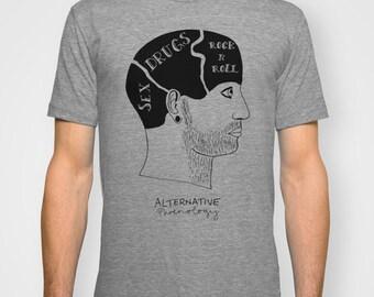 Alternative phrenology head UNISEX T-shirt hand printed by Emilythepemily.