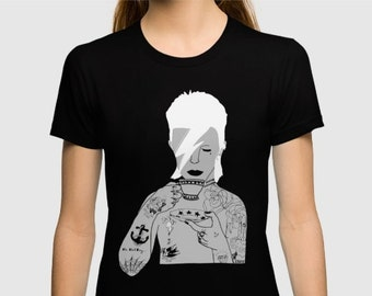 David Bowie (Grey) Womens -shirt hand printed by Emilythepemily.