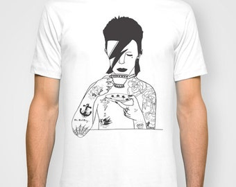 David Bowie UNISEX T-shirt hand printed by Emilythepemily.