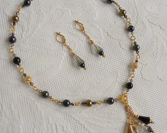 Midnight Romance Necklace and Earring Set 6 - Gold with Swarovski Crystals, Pearls, and Artemis Crystal Beads