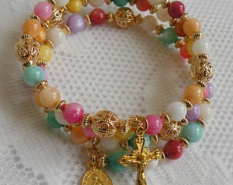 Five Decade Catholic Rosary Bracelet - Multi-Color Mother-of-Pearl with Small Miraculous Medal - Available in Gold or Silver