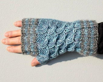 Hand Knitted Fingerless Gloves, Blue Grey Striped Short Gloves with Cable Pattern, Mens Gloves, One of a Kind Gift for Her, Unisex Gloves