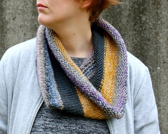 Knit Infinity Scarf, Hand Knitted Cowl Scarf, Striped Loop Scarf, Winter Snood Unisex Cowl, Gift for Him, Brown, Taupe, Yellow, Gray, Purple