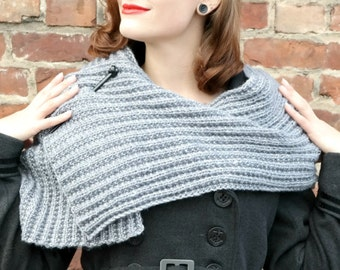 Hand Knitted Shawl Stole, Metallic Silver Gray Wrap, Chic Scarf with Pin, Luxury Winter Fashion, Womens Fashion, Holiday Fashion Accessory
