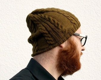Knit Beanie Men, Hand Knitted Womens Beanie, One of a Kind Mens Hat, Olive Brown Skull Cap with Cables, College Student Gift, Winter Fashion