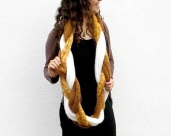 Braided Infinity Scarf, Knit Cowl Scarf, Loop Cowl Braid, Luxury Women's Fashion, Warm Winter Fashion, Mustard Yellow, White, Brown Scarf