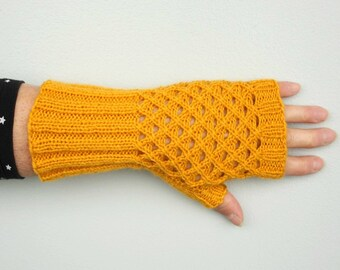Yellow Fingerless Gloves, Hand Knitted Long Gloves with Net Pattern, Mustard Yellow Womens Gloves, Hand Knit Winter Fashion Gift for her