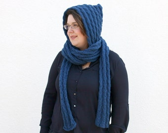 Blue Knit Scoodie Hooded Scarf, Scarf with Hood, Pixie Hat Hood Scarf, Hand Knitted Scarf Hoodie, Unique Winter Fashion College Student Gift