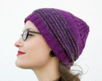Striped Slouchy Beanie, Purple Hand Knitted Womens Beanie Hat, Winter Accessory, Black Silver Striped Knit Hat, Fall Fashion Gift for Girls