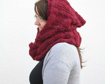 Hooded Scarf Cowl, Red Infinity Scarf with Hood, Oxblood Scoodie Snood, Dark Red Hand Knitted Hood Cowl, Cottagecore Winter Fashion Gift