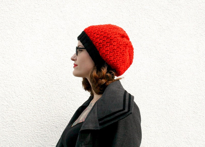 efb0807a6 Knitted Slouchy Beanie, Red and Black Double Layer Beanie, Winter Fashion  Accessory, Hand Knit Womens Hat, Teenagers - Bright Red and Black