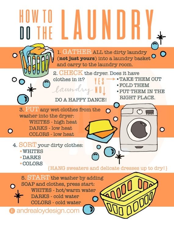 Laundry Infographic how to do laundry kids printable  b726dd87e