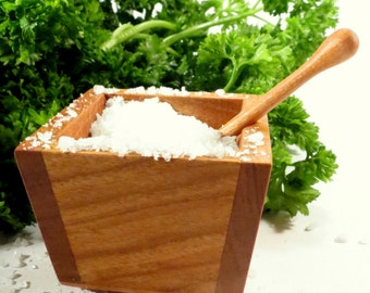 Salt cellar - cherry wood salt cellar with wooden spoon