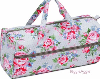 Pink Roses Knitting Bag with Yarn Hole. Grey Crochet Project Bag. Pink Stripe Interior. Floral Birthday or Christmas Gift for a Knitter.