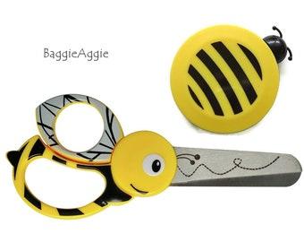 BEE Scissors + Tape Measure Set for Kids. Fiskars Children's Safety Scissors + Retractable Measure. Stocking Filler for Boys + Girls