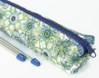 Blue Knitting Needle Case, Green Knitting Pin Pouch, Extra Long Knitting Pin Holder, Knitting Needle Storage, Gift for Knitters.