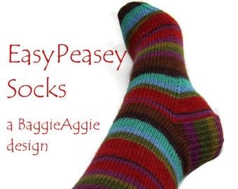 Ladies' Sock Pattern, PDF Sock Pattern, Easy Sock Pattern, Top Down Knit Sock Pattern, Socks Knitting Pattern Download.