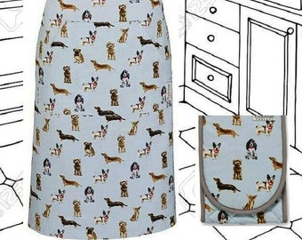 DOGS Bib Apron + Oven Gloves Gift Set, Pale Blue with Grey. Double Oven Mitts + Pinny with Pocket. Kitchen gifts for dog lovers.