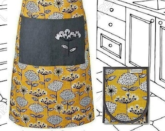 RETRO FLORAL Apron + Oven Gloves Gift Set. Double Oven Mitts + Bib Pinny with Pocket. In Mustard Yellow, Black and Grey.