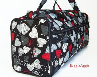 Knit Hearts Knitting Bag, Knitting Project Bag, Black Grey Red Crochet Project Bags, Gifts for Knitters, UK.