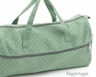 Sage Green Knitting Project Bag for Man, Woman or Child. Crochet Storage with Mini Polka Dots. Dotty Birthday Gift for Knitter or Crocheter.