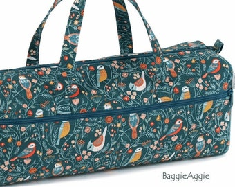 BIRDS Knitting Bag, Teal. Large Crochet Project Bag. Zipped Front Pocket + Yarn Hole. Luxury Birthday Gift for Knitter or Crocheter.
