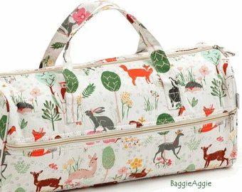Quality Knitting Project Bag with Yarn Hole. Woodland Animals & Birds on Palest Green. Crochet and Sewing Storage. Gift for Nature Lover.