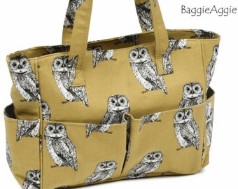 OWLS Sewing Caddy with Multiple Pockets in Mustard Yellow + Grey. Luxury Zipped Knitting Project Bag. Christmas Gift for Knitter.