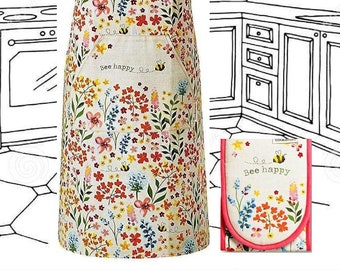 BEE HAPPY Cotton Apron + Oven Gloves Gift Set. Floral Double Oven Mitts + Pinny with Pocket. Gift for beekeeper, cook or baker.