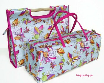 Knitting Bags in Wipe Clean PVC Coated Fabric. FANTASY BUTTERFLIES Cross Stitch Project Bags. School Holiday Activities for Kids.