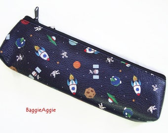 Space Travel Pencil Case, Lined, Wipeable and Zipped. Multiple Colours on Darkest Navy Blue. Crochet Needle Storage for Boys and Girls.