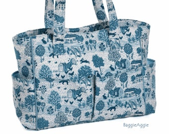 Blue + White Sewing Caddy. Knitting Project Bag with Multiple Pockets. Rural Scenes - Cottages, Foxes, Chickens, Hares, Birds, Bees + more.