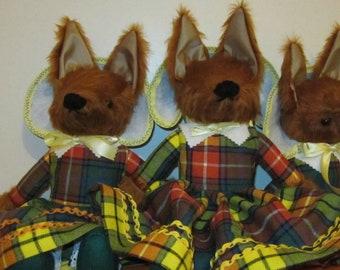 Dressed Fox Ornamental Toy Fox Dressed in Buchanan Tartan Scottish Dressed Fox Toy Ornamental Dressed Fox Toy Traditional Dressed Fox Toys.