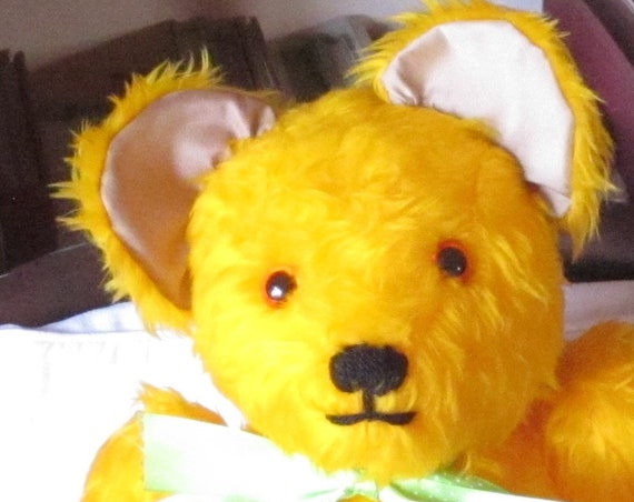 Yellow Plush Teddy Bear Ornamental Toy Happy Teddy Bear or Sad Teddy Bear Toy Decoration Kid's First Present Stress Buster Toy Adoption Gift