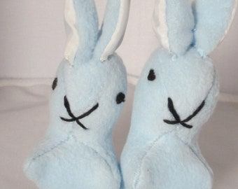 Blue Fleece Rabbit Ornamental Toy Cuddly Blue Fleece Rabbit Fleece Bedroom Decor Item Cuddly Blue Christening Gift Two Versions Available