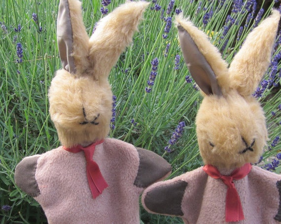 Brown Plush Rabbit Glove Puppet Toy Counsellors Helping Tool Teaching Aid Child's Activity Present  Unusual Inter-Sibling Activity Toy Gift