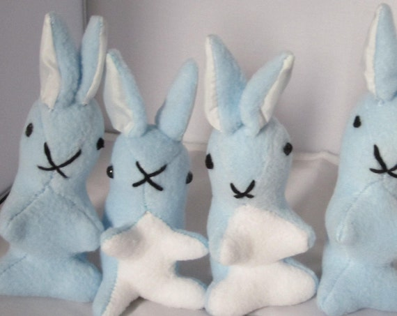 Blue Fleece Rabbit Ornamental Toys Cuddly Blue Fleece Rabbits Fleece Bedroom Decor Item Cuddly Blue Christening Gift Two Versions Available