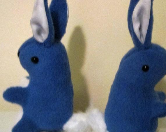 Blue and White Fleece Baby Rabbit Toys Fleece Baby Bunny Christening Gift Dark Blue Rabbit Ornaments Bunny Bedroom Decorations Nursery Decor