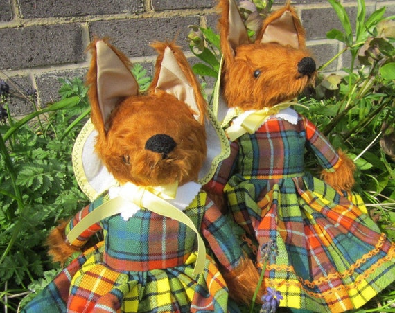 Dressed Fox Ornamental Toy Fox Dressed in Buchanan Tartan Fox Toy with a Scottish Plaid Frock Dressed Fox Toy Unusual Decorative Toy Fox.