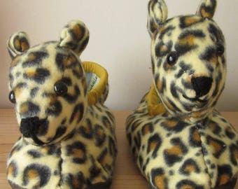 Leopard Kid's Slippers Kids Cuddly Slipper Made to Measure Practical Kid's Present Make to Order Unusual Family Gift Great Kid's Footwear