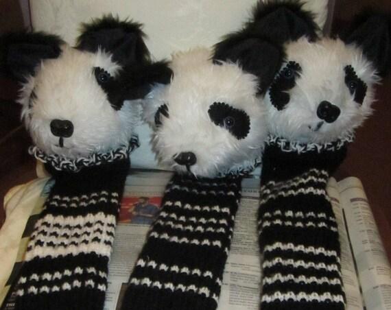 Black and White Plush Knitted Handle Cover Golf Club Cover Panda Bear Head  Novelty Golfer's Gift Unisex Golfer's Present Gift Basket Filler